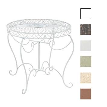 CLP Table Ronde de Jardin Sheela - Table de Jardin Design en Fer Forgé -  Table de Terrasse Style Antique - Meuble de Jardin en Fer - Couleur : Blanc