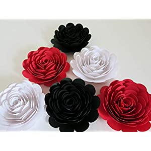 "Black, Red & White Paper Roses, 3"" Paper Flower Blooms, Set of 6 Big Wedding Flowers, Bridal Shower Decor, Mad Hatter Theme Tea Party Decorations, Always In Blossom 19"
