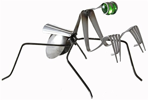 Forked Up Art G44 Stainless Steel Fork and Spoon Praying Mantis Sculpture ()