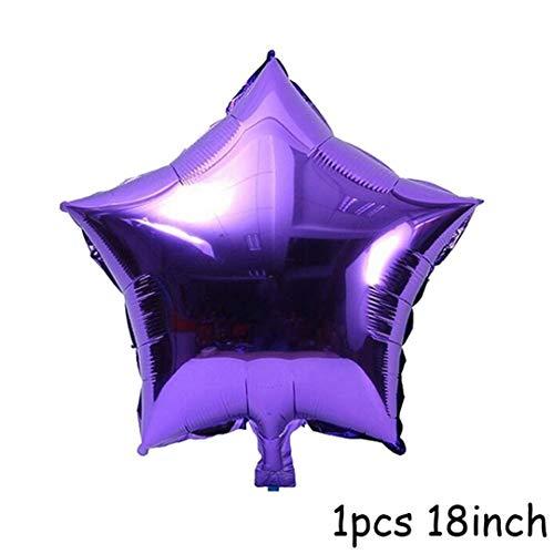 5Pcs 18Inch Round Foil Balloons Mubarak Decorations Star Moon Helium Balloon Eid Al Adha Eid Al-Fitr Supplies Purple Star]()