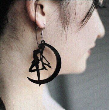 European and American fashion nightclub custom black silhouette of the moon earrings US war Sailor Diablo fun creative earrings