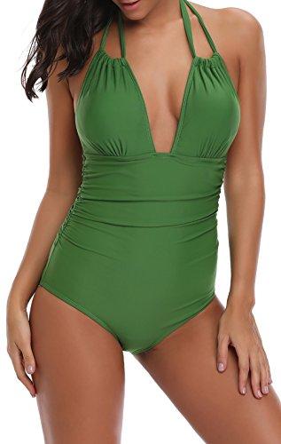 Eomenie Women's Deep V Neck Bathing Suits Monokini Sexy Tummy Control Swimwear One Piece Swimsuit For Women by Eomenie