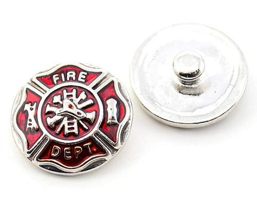 Fireman Snap - Firefighter Fire Dept. Snap Jewelry 20MM SnapAccents Fireman Charm Button