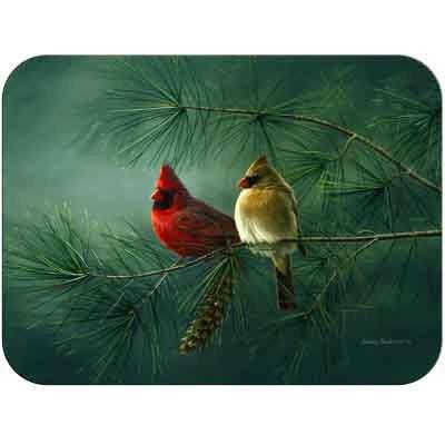 (Tuftop Tempered Glass Kitchen Board, Artist Collection - Cardinals & White Pine Medium)