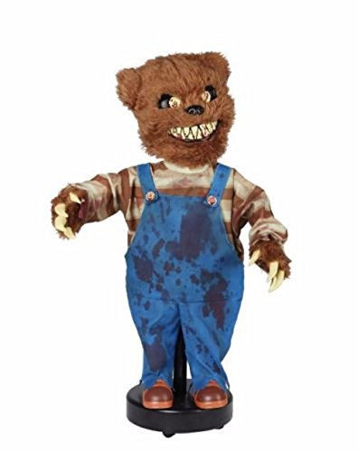 Halloween 2.5 Foot Roaming Animated Creepy Bear Haunting Voice Sound Activated]()