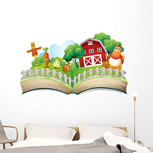 Wallmonkeys Book with Image Farm Wall Decal Peel and Stick Educational Graphics (60 in W x 36 in H) WM123762