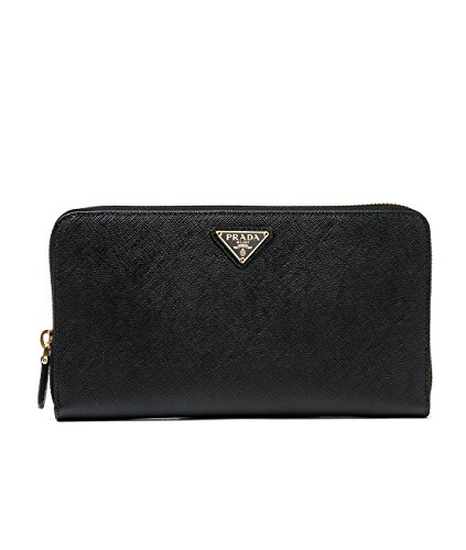 Wiberlux Prada Women's Gold Triangle Logo Detail Zip-Around Long Wallet With Pencil