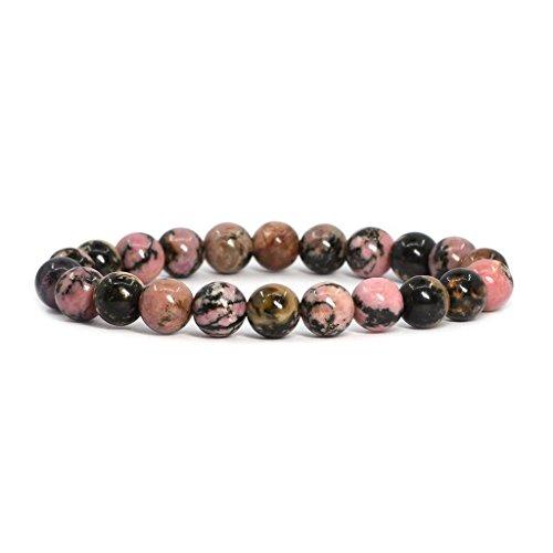 Rhodonite Stone (Natural Matrix Rhodonite Gemstone 8mm Round Beads Stretch Bracelet 7