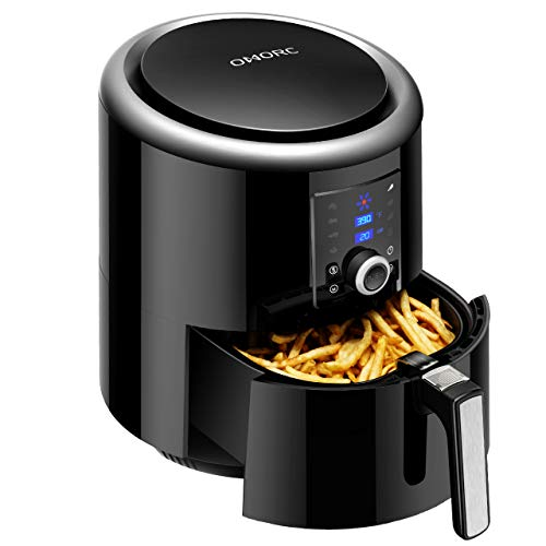 OMORC Air Fryer XL, 5.8qt Airfryer Oil Free Cooker with Hot Air Circulation Tech for Fast Healthier Food, 7 Cooking Presets - LCD Touch Screen and Knob Control (Recipe Book included, 5.5L Capacity)