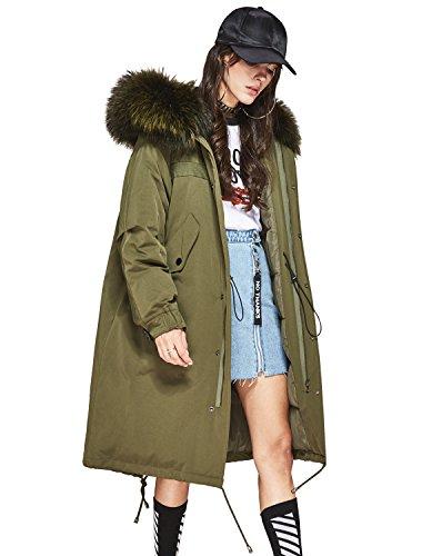 Murfhee Women's Winter 90% White Duck Down Jacket Oversize Long Coat Real Raccoon Fur Hooded Parka (US4-6(S), Army Green)