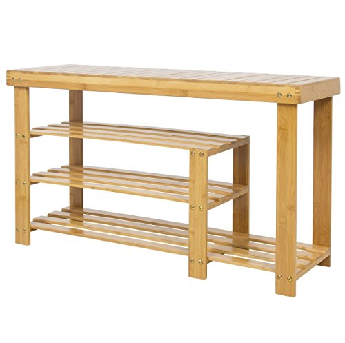 3 Tiers Natural Bamboo Shoe Bench Home Furniture Décor Decoration Boots Slippers Sandals Rack Garage Entryway Bedroom Closet Hallway Shoe Storage Compartment Shelf Cabinet Organizer from Auténtico