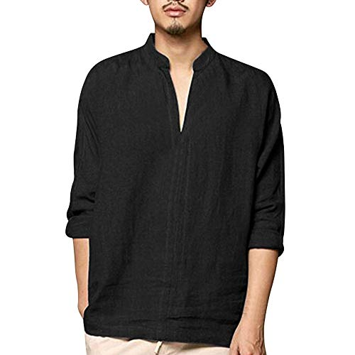 POQOQ Henley Shirts Mens Casual Loose Fit Long Sleeve T-Shirts Cotton Long Sleeve Vintage Garment Dyed Lightweight Fashion Hooded XL Black
