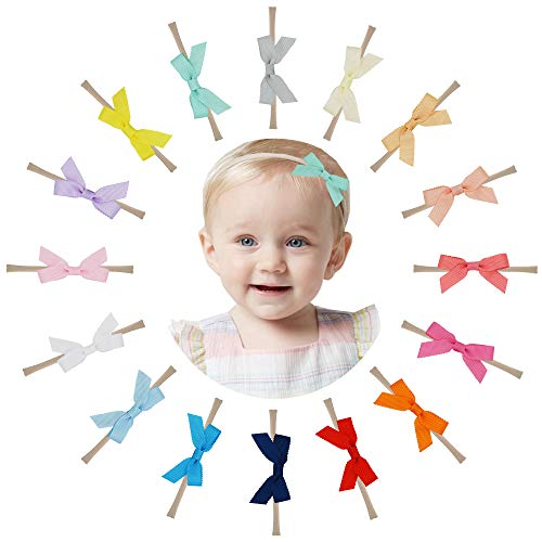 "Prohouse 16PCS 2.5"" Baby Nylon Headbands Hairbands Hair Bow Elastics for Baby Girls Newborn Infant Toddlers Kids"