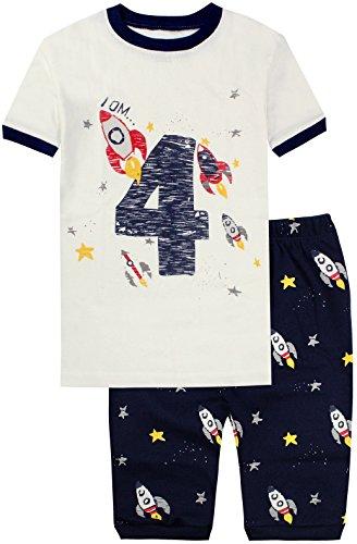 Pajama Set Rocket Boys Cotton Number 4 Pants Casual Sleepwear Short PJS (4t Sleepwear)