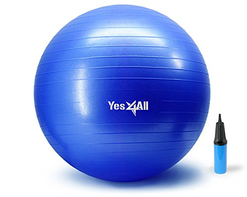 Yes4All 2000-lbs Anti Burst Stability Ball with Hand Pump (R_Blue+Pump-75 cm)
