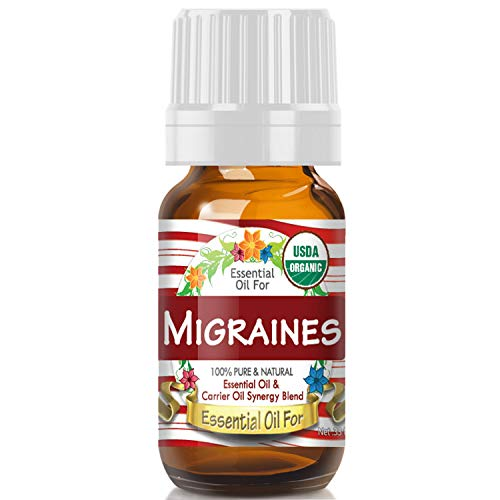 Essential Oil for Migraines (USDA Organic - 100% Pure) Unique Blend of Essential Oils Recomended by Aromatherapists for Aromatherapy - 10ml