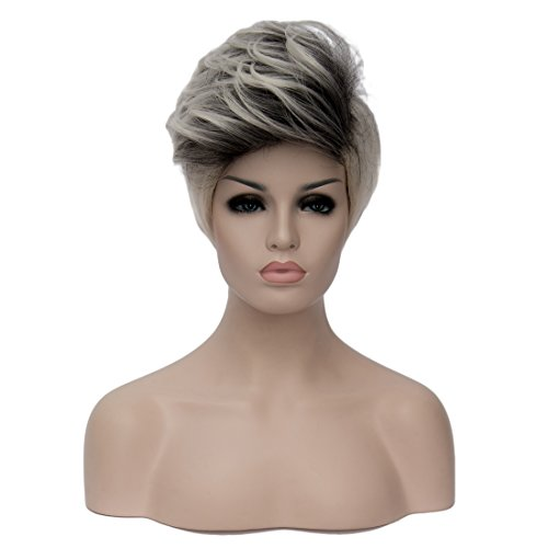 Alacos 26cm Short Fluffy Mohawk Style 2 Color Unisex Men Women Daily Cosplay Wigs with Free Wig Cap (Beige (Grandma Halloween Costume Ideas)