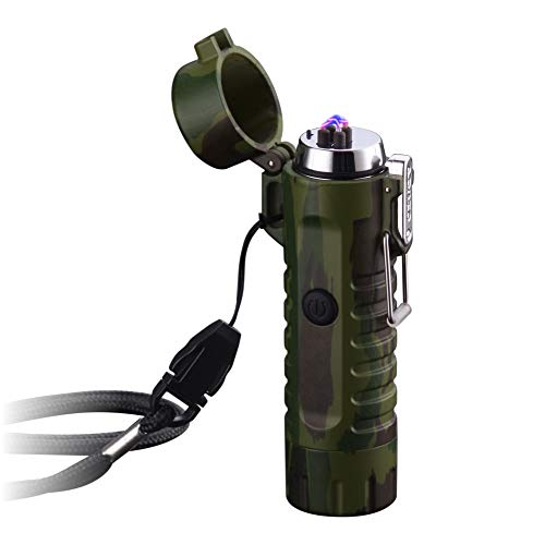 SunTime Dual Arc Lighter with Flashlight Double Plasma USB Rechargeable Flameless Waterproof Windproof Mini Electric Lighter for Cigar Candle Cigarette Pipe (Camouflage)