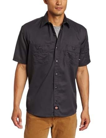 Dickies Men's Short Sleeve Ring Spun Twill Work Shirt, Charcoal, 3X