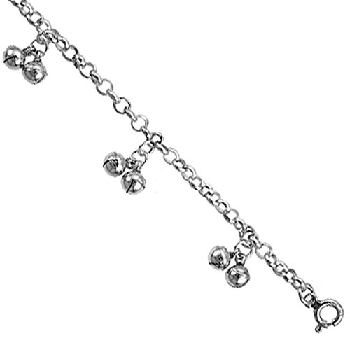 Sterling Silver Double Jingle Bells Anklet 12mm wide, fits 9 10 inch ankles