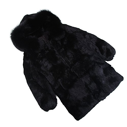 MMFur Real Rabbit Fur Coat Hooded with Natural Fox Fur Collar Full Pelt Black XXL