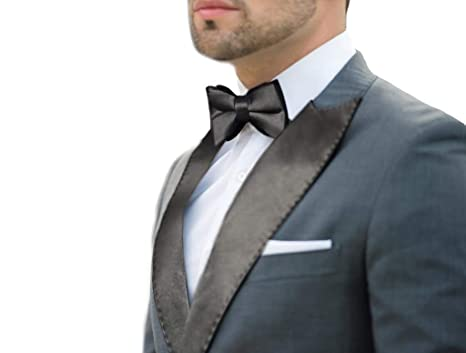 4dccfe13297 Black Satin Peak Lapel & Bow Tie Set at Amazon Men's Clothing store: