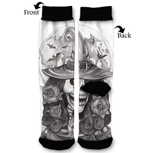 NGFF Halloween Art Witch Skull Men Women Casual Crazy Funny Athletic Sport Colorful Fancy Novelty Graphic Crew Tube Socks