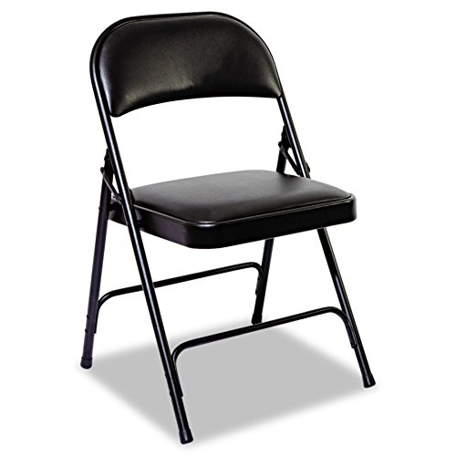 Alera ALEFC96B Steel Folding Chair with Two-Brace Support, Padded Back/Seat, Graphite (Case of 4) (Case Steel Chairs Office)