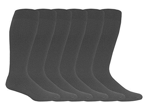 Jefferies Socks Mens Classic Nylon Rib Over The Calf Dress Socks 6 Pair Pack (Sock Size 10-13 - Shoe Size 9-13, Charcoal) (Sock Rib Classic Dress)