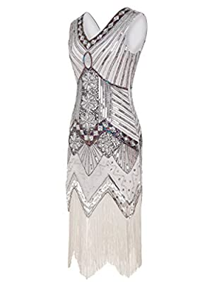 FAIRY COUPLE 1920s Flapper Double V-neck Sequined Rhinestone Embellished Fringed Dress D20S003