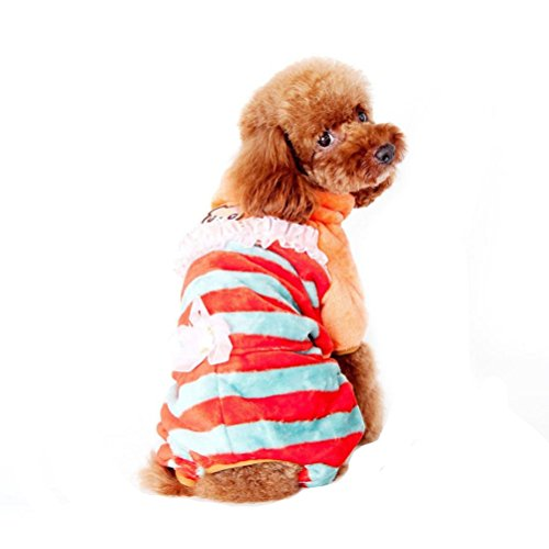 Puppy Clothes,Neartime Winter Cute Dog Coat Coral Cashmere Doggy Outfit (XXL, Orange) (Pumpkin Outfit For Dogs)