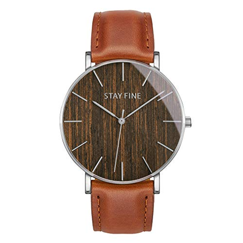 Wood Watches for Men | Mens Wooden Watch | Japanese Quartz Movement | Sapphire Crystal Glass | Italian Leather Band | by STAY FINE (Silver 40mm Case, African Blackwood/Tan Strap)