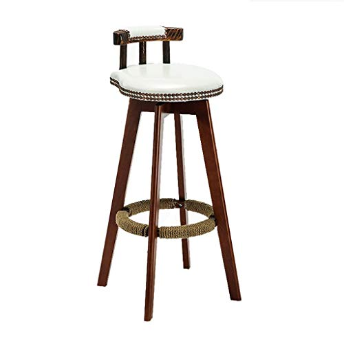 High Stool Bar Stools with Swivel PVC Seat | with Back Bar Cafe Restaurant Kitchen/Triangle Frame Wooden Legs, Support 440lbs, Black/White/Red Dining Chair
