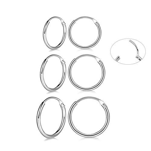 3 Pairs Sterling Silver Small Hoop Earrings Hypoallergenic Endless Hoop Earrings Set Cartilage Huggie Nose Lip Rings for Women Men Girls, 8mm 10mm 12mm, Upgrade Easy to Clasp ()