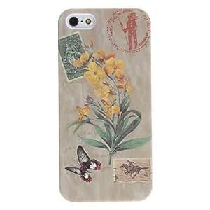 MOFY-Flor y estuche r'gido de socorro patr—n de mariposa para el iphone 5/5s