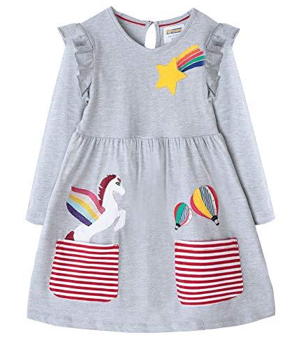 Fiream Cartoon Cotton Kids Dresses Longsleeve Toddler Girls Casual Fashion Dresses(JP001,3T/3-4YRS) ()