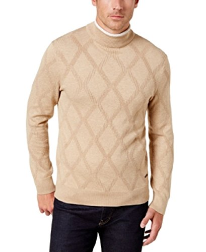 - Tasso Elba Mens Pattern Ribbed Trim Turtleneck Sweater Tan XXL
