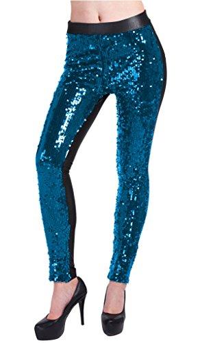 Lotus Instyle Frente Brillante Lentejuelas Falso Cuero Clubwear Fieste Polainas Para Mujer Lago azul