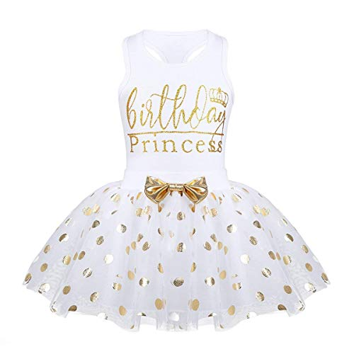 Toddler Kids Baby Girls Outfits Brithday Princess Vest Sleeveless Top +Dot Bubble Skirt Summer(White, 18 Months(80))