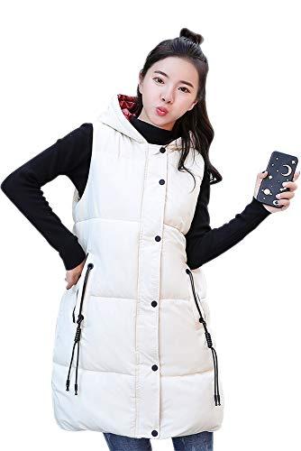 Mujer Puffer Con Largo Bozevon Invierno Chaleco Capucha Vest Beige q1Ffgwvg