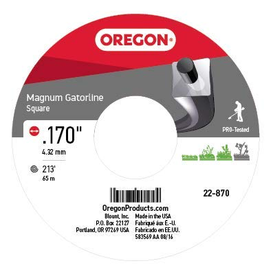 - Oregon 22-870 Heavy-Duty Professional Magnum Gatorline Square String Trimmer Line .170-Inch Diameter 3-Pound Spool