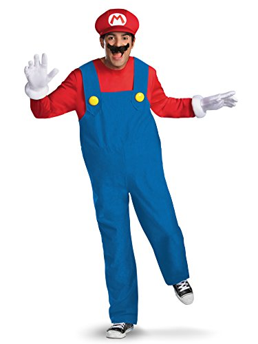 Disguise Super Mario Deluxe Mens Adult Costume, Red/Blue, XX-Large/50-52 -