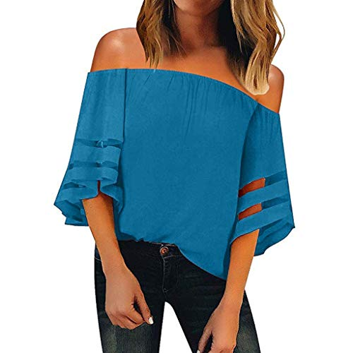 Sunhusing Women's Sexy Elastic Frilled Cold-Shoulder Solid Color Cropped Sleeve Flare Sleeve T-Shirt Blue