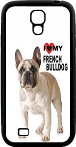 Rikki KnightTM I Love my French Bulldog - Light Brown and White Bulldog Design Samsung? Galaxy S4 Case Cover (Black Hard Rubber TPU with Bumper Protection) for Samsung Galaxy S4 i9500 by mcsharks