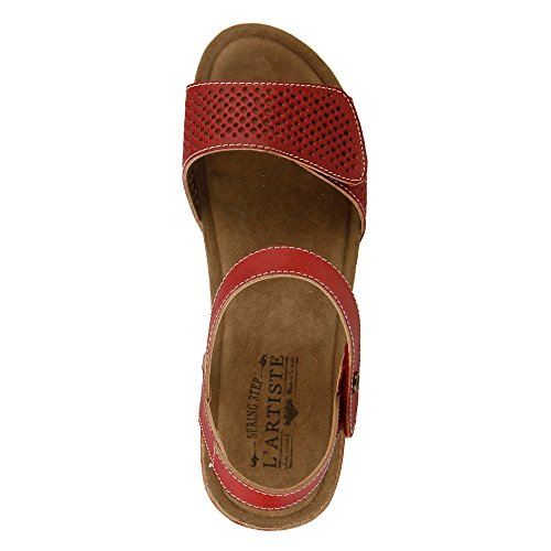 Wedge Women's Red Sandal Step L'Artiste Lexy Spring Leather by yqOF1pPz6