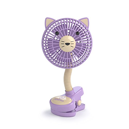 "LIVION Fanimal Clip-On Stroller Fan 5"" - Portable Baby Fan with Clip - Mini Desk Fan - Cute Stroller Fan with Animal Designs - Adjustable Gooseneck - USB/Battery Powered (Kitty)"