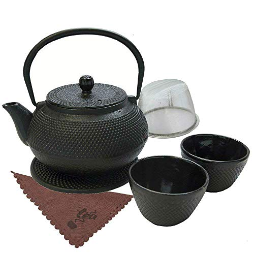(Traditional Japanese Tea Kettle Iron Teapot Gift Set Cast 7 Piece Teacup Set with Trivet Stand Tray and Stainless Steel Strainer Tea Pot with Infuser)