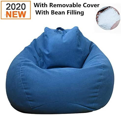 DankeSh Bean Bag Chair, Big Comfy Bean Bag Chair with Removable Cover Memory Foam Bean Bag Sofa Furniture Deep Blue, 35x43inch