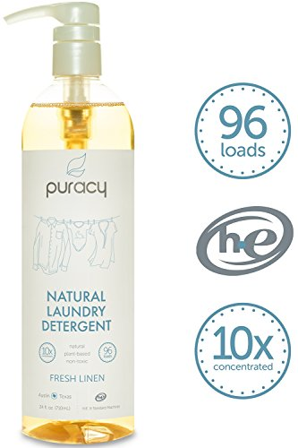 Puracy Natural Liquid Laundry Detergent, Sulfate-Free, THE BEST High Efficiency Soap, Fresh Linen, 10x Concentrated