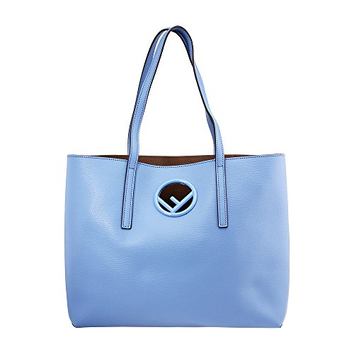 Fendi Handbag Blue (Fendi Shopper Ladies Medium Light Blue Leather Tote Handbag 8BH348A0ZGF11CH)